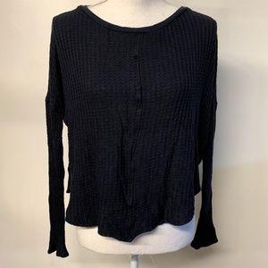 Velvet Graham & Spencer Black Waffle Knit Crop Top